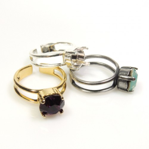 Round Adjustable Ring fit Swarovski 1088