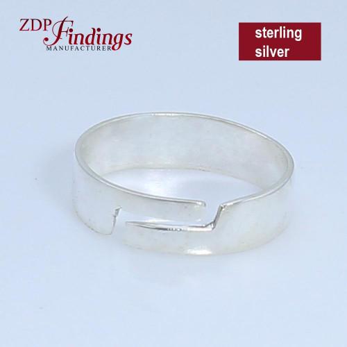 Adjustable Ring Base Blank, Sterling Silver 925