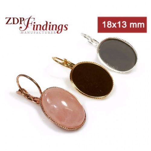 Oval 18x13mm Lever back Earrings