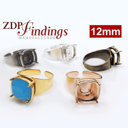 12mm Square Adjustable Ring Bezel For Setting Fit  Swarovski 4470