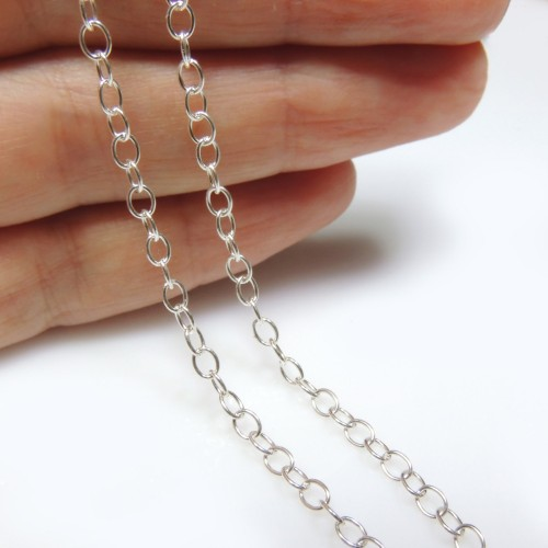 2.9mm  Sterling Silver Oval Link Chain