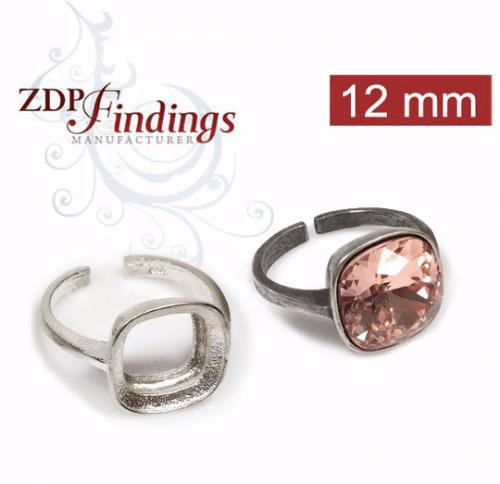 12mm Square Silver 925 Ring fit Swarovski 4470
