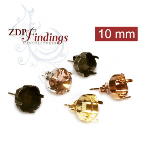 Square 10mm Bezel Post Stud Earring Setting Fit Swarovski 4470 Crystal, Choose Your Finish