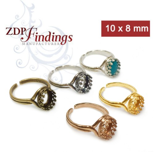 10x8mm Oval Ring Base Shiny Silver, Choose your finish.