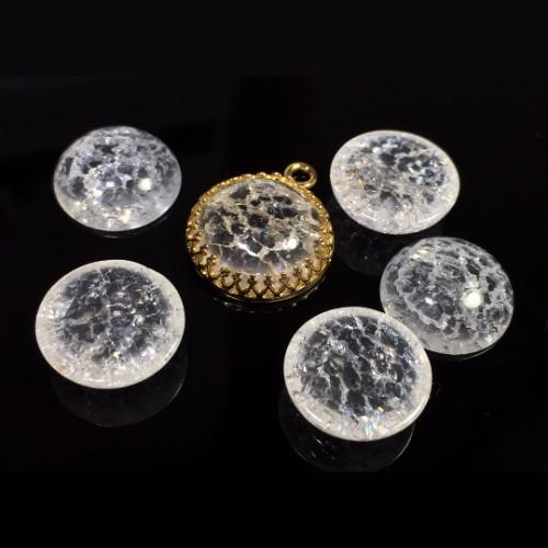 Round Cabochon Ice Clear Crystal Quartz Gemstone
