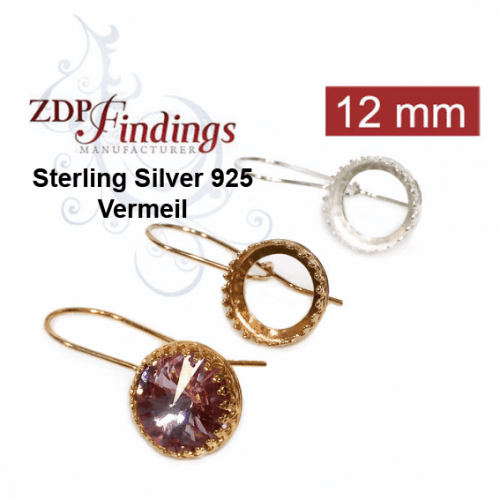 Sterling Silver Leverback Earrings Hooks for 1122 Rivoli Crystals 12mm 14mm