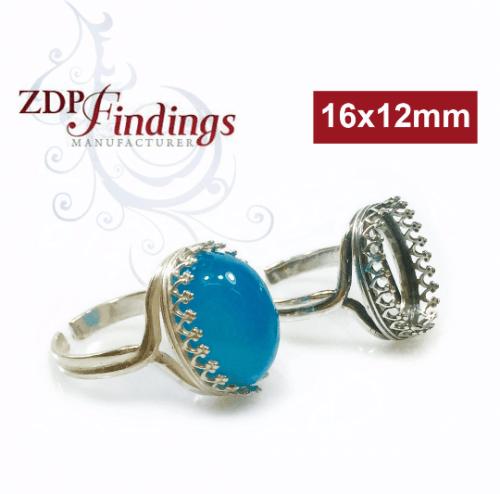 Oval 16x12mm Bezel Silver 925 Ring Setting
