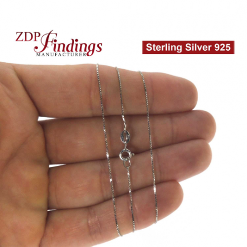 Sterling Silver 925 Finished Rhodium Plated Box Chain