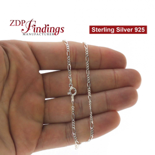 Sterling Silver 925 Finished Figaro Chain