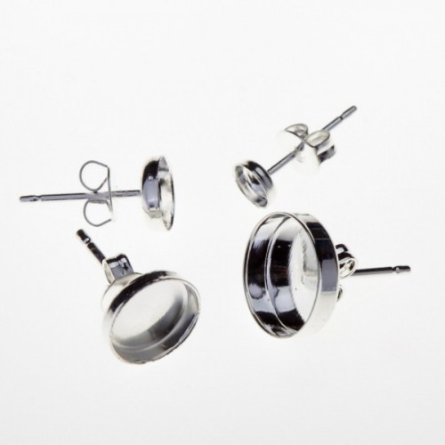 Silver 925 Round Bezel Post Stud Earrings, Choose your size
