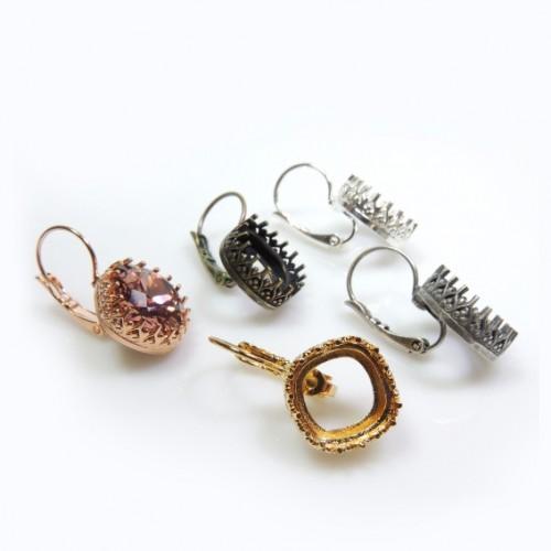 12mm Square Bezel Earrings Setting fit Swarovski 4470