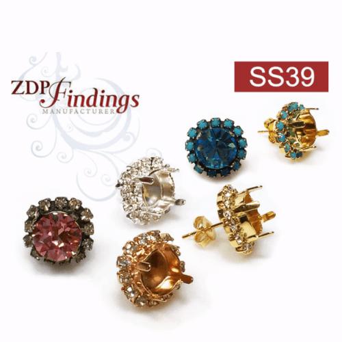 Round 39ss Post Earrings Setting Fit Swarovski 1028/1088