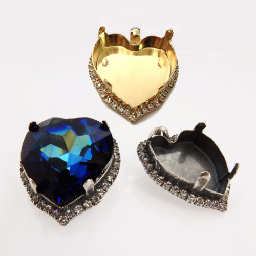 28mm Heart Pendant Setting Fit Swarovski 4827