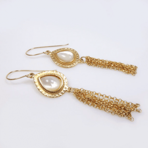 Vintage Style ntage Style Hammered Gold Vermeil Handmade Mother of Pearl Earrings