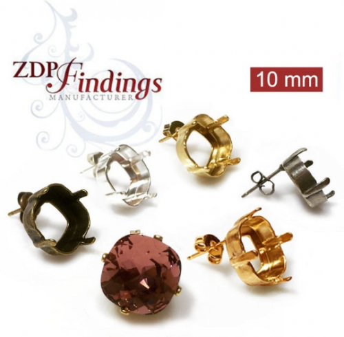 10mm 4470 Swarovski Post Earrings, Choose your finish