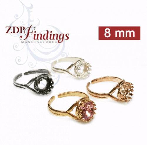 8mm Round Ring Base Sterling silver 925, Choose your finish.