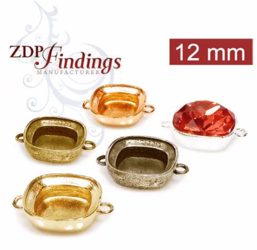 12mm Square Bezel Cup Connectors For Gluing 4470 Swarovski Crystal