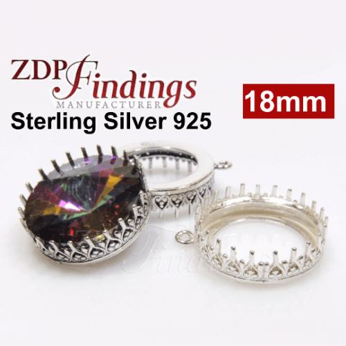 1122 18mm Shiny Silver 925 Crown Bezel