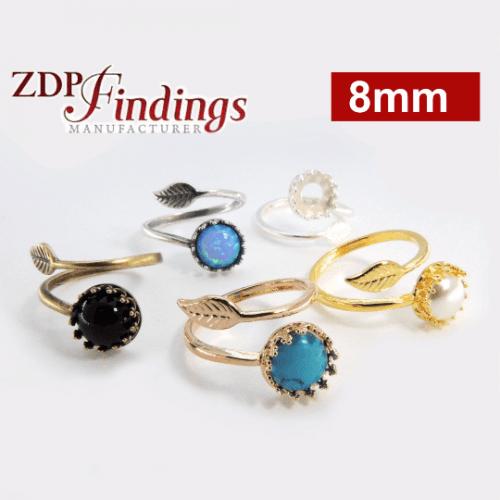8mm 925 Sterling Silver Crown Bezel Settings, Adjustable Ring