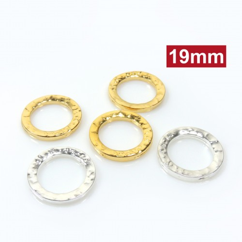 19mm Round Hammered Decorated Link Gauge 1.9mm