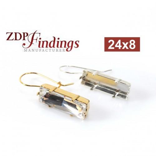 24x8mm Bezel Earrings Fit Swarovski 4547