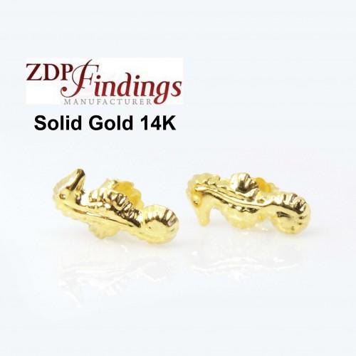 14K Solid gold Seahorse post earrings