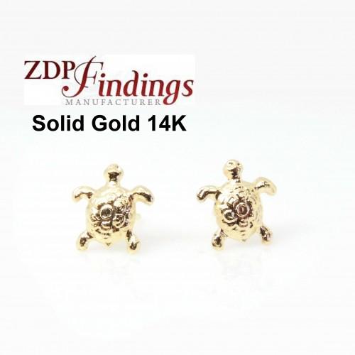 14K Solid gold Turtle post earrings