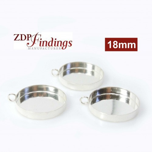 18mm Round Silver 925 Bezel Cup with Vertical Loop