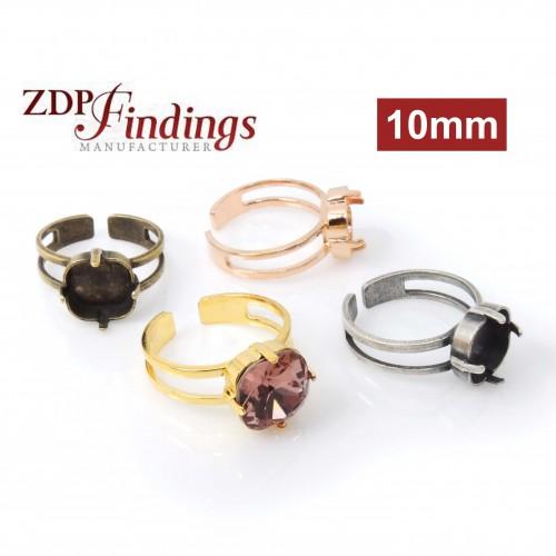 c6c5af10c 10mm Square Adjustable Ring Setting Fit Swarovski 4470 - Adjustable ...