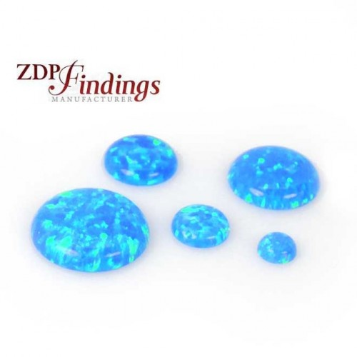 Round Deep Blue Sparkling Opal Lab Created Multi Color Cabochon