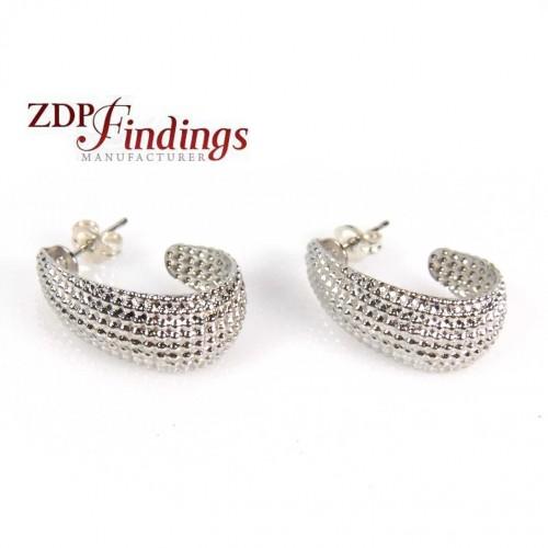 Silver Plated 20x8mm Light Weight Dots Hoop Earrings