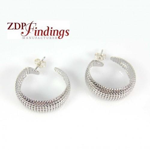 Silver Plated 23x9mm Light Weight Dots Hoop Earrings
