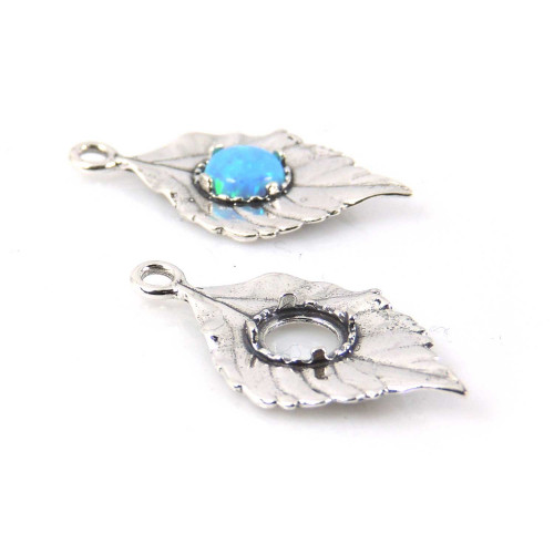 26x14mm Shiny Sterling Silver 925 Leaf Pendant