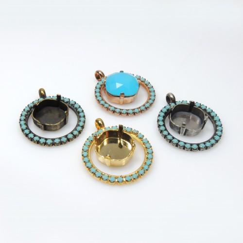 Jewelry Settings 18x13mm Rose Gold Adjustable Ring Setting W/crystal Rhinestone Fit Swarovski4120 Clear-Cut Texture