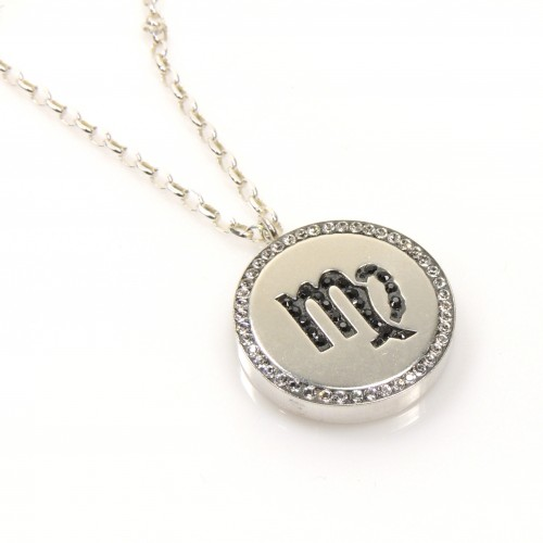 Virgo zodiac charm silver 925 rhinestone pendant necklace finished virgo zodiac charm silver 925 rhinestone pendant necklace mozeypictures Image collections