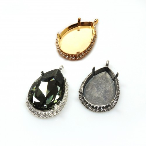Pear 30x20mm Pendant with Crystals fit Swarovski 4327