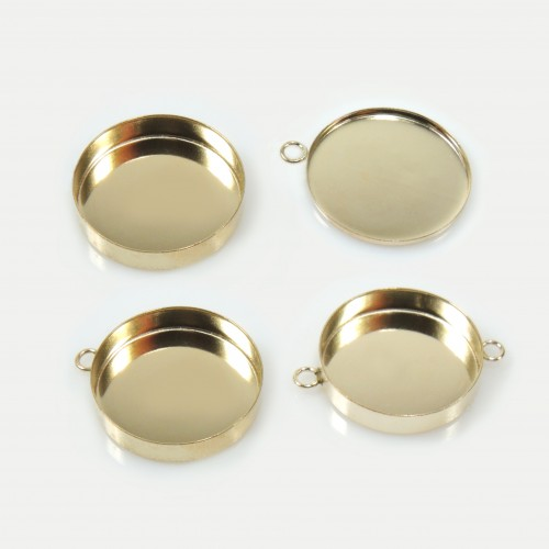 15mm Round Gold Filled Bezel Cup