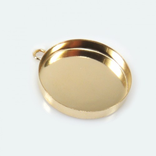 20mm Round Gold Filled Bezel Cup with 1 Loop