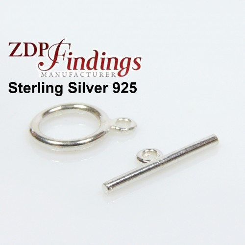 Sterling Silver 925 Round Toggle Clasp 10mm