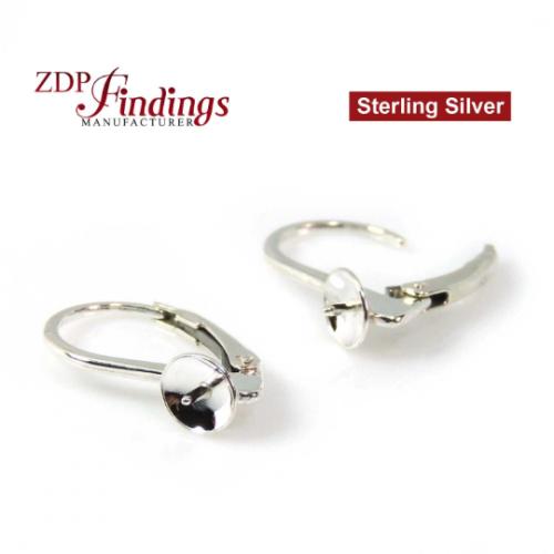 Sterling Silver 925 Pearl Holders Cap Peg base
