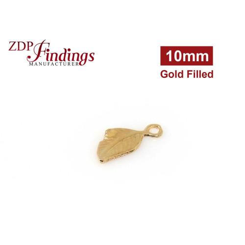 14k Gold Filled Leaf charm 10mm Pendant