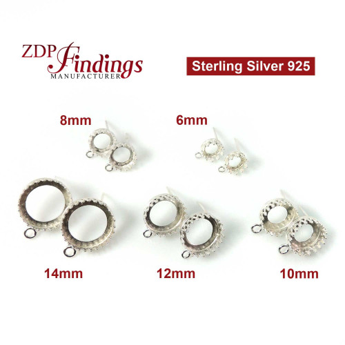 Earring Bezel Crown with post and loop