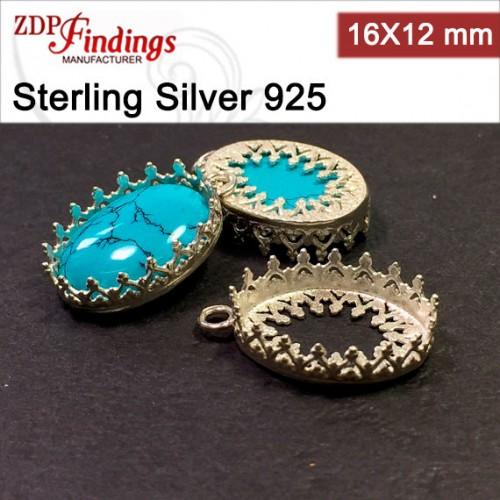 16x12mm Oval 925 Silver Bezel