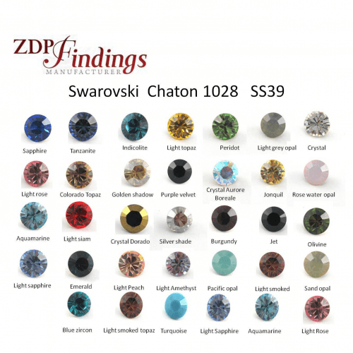 Swarovski SS39 Multi Colors 8.2mm Round Xilion Crystal 1088 Chaton 39ss