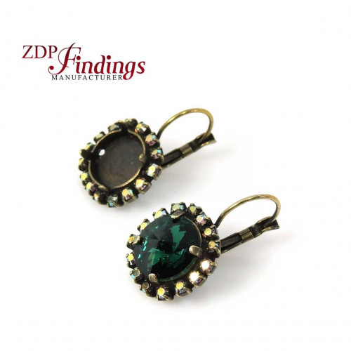 Round 12mm bezel earrings for setting with AB Rhinestones