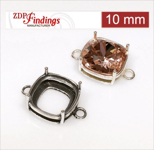 10mm Square (cushion) 925 Sterling silver Bezel, choose your finish.