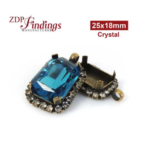 25x18mm Antique Brass Octagon Rectangle Pendant Base