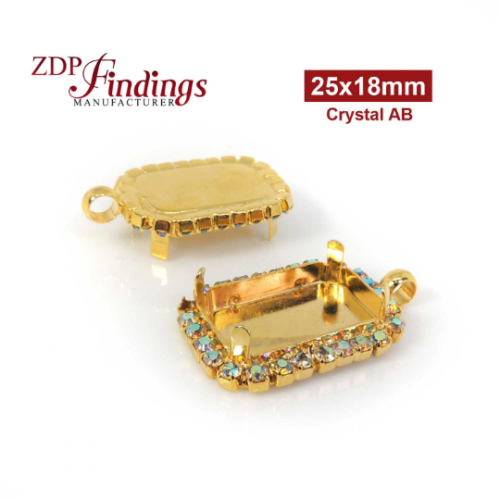25x18mm Gold Plated Octagon Rectangle Pendant Bezel with Swarovski Halo Rhinestones