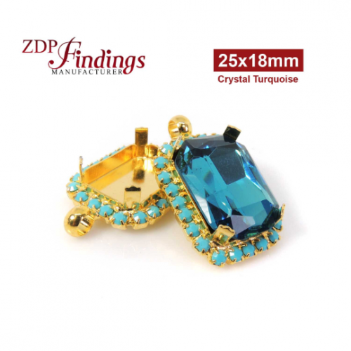 25x18mm Shiny Gold Plated Octagon Pendant Bezel Setting with Swarovski Halo Turquoise Rhinestones