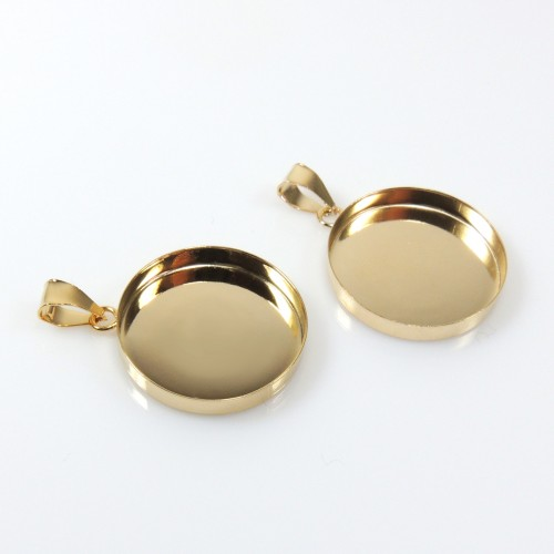 25mm Round Gold Filled Bail Bezel Cup